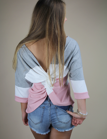 Tied With A Knot Top - Heather Grey