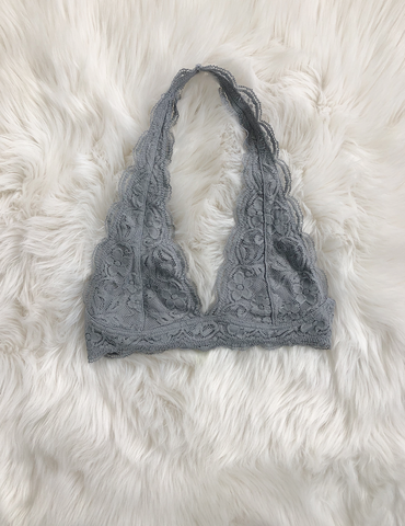 Caught Your Gaze Bralette - Light Grey