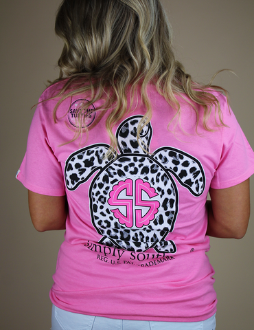Simply Southern Leopard Turtle Tee- Pink