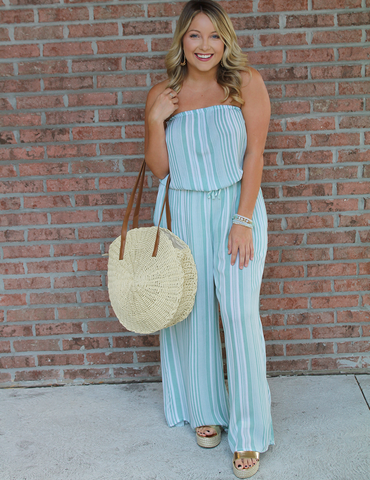 Off on Vacation Jumpsuit - Sage