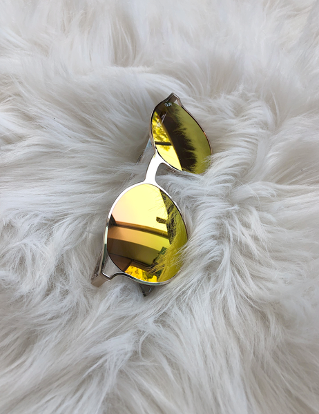 Quay Australia: Here We Are Gold Rose Mirror Sunnies