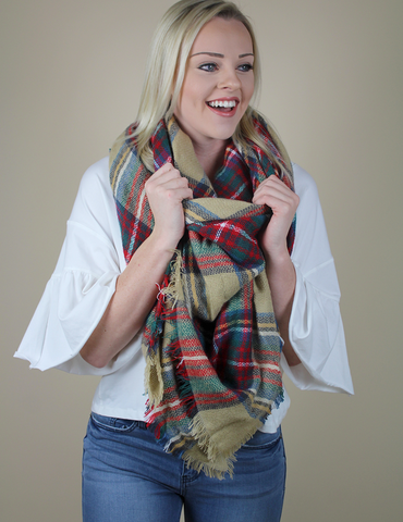 Pretty In Plaid Blanket Scarf - Oatmeal