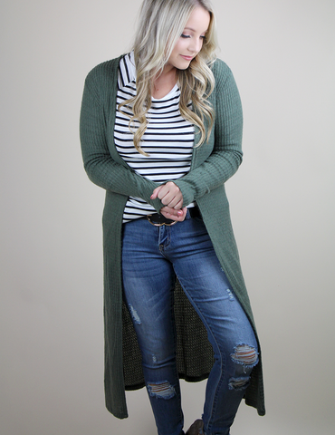 Let's Get Toasty Cardigan - Olive
