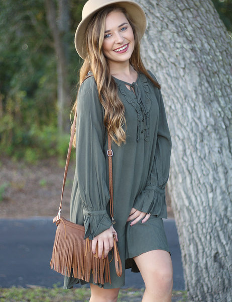 Tell Me Secrets Dress - Olive