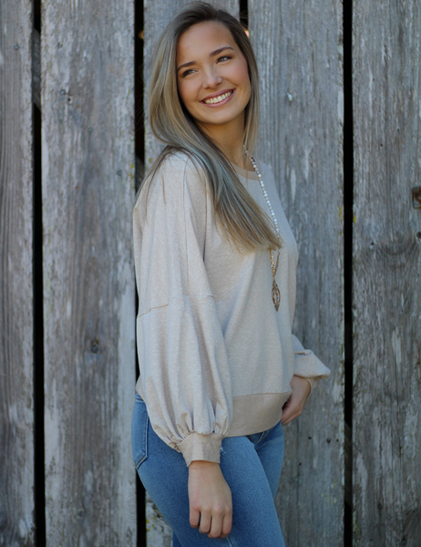 She's A Sweet Talker Top - Taupe