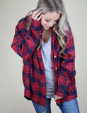 With Every Word Oversized Flannel - Red/Navy