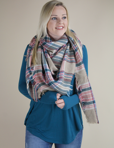 Pretty In Plaid Blanket Scarf - Pink