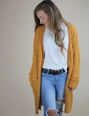 Just To Get To You Cardigan - Mustard