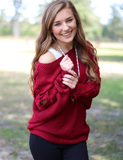 Too Cozy To Care Sweater - Red
