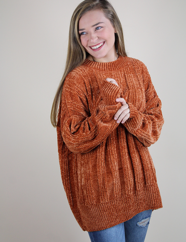 Cozy On Up Sweater - Rust