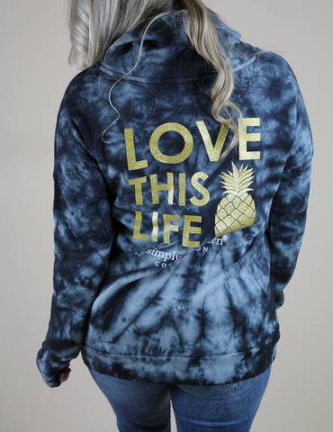 Simply Southern Love This Life Pullover - Black Tie Dye