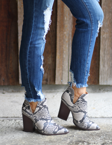 The Good Ones Ankle Boots - Snake Print