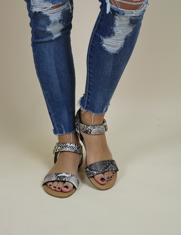 A Walk On The Wild Side Sandal - Snake Print