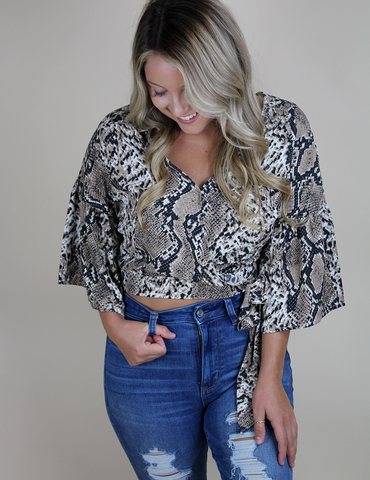 Wherever She Goes Top - Snake Print