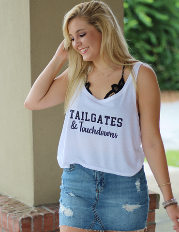 Tailgates & Touchdowns Graphic Tee - Heather White