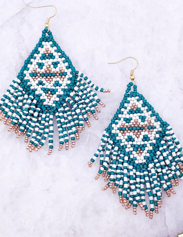 Teal Fringe Earrings