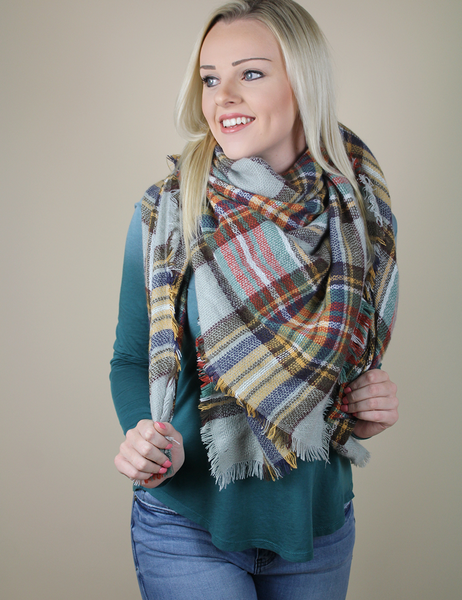 Pretty In Plaid Blanket Scarf - Teal And Yellow