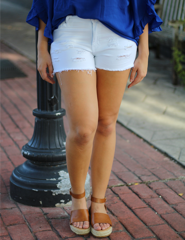 What You've Always Needed Shorts - White Distressed