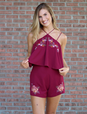 Without A Care Romper - Wine