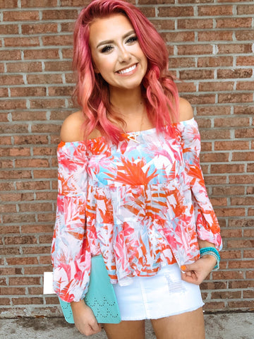 Dreaming Of Paradise Top - Ivory/Fuchsia