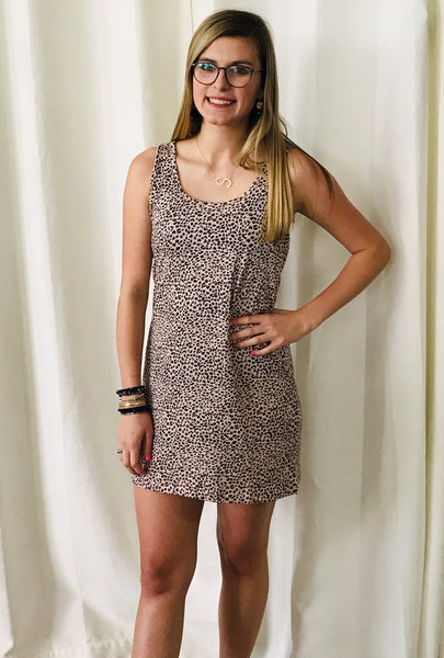 Z Supply: The Mini Leopard Tank Dress In Pale Blush