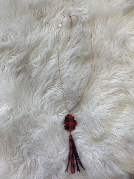 Buffalo Plaid Tassel Necklace - Red