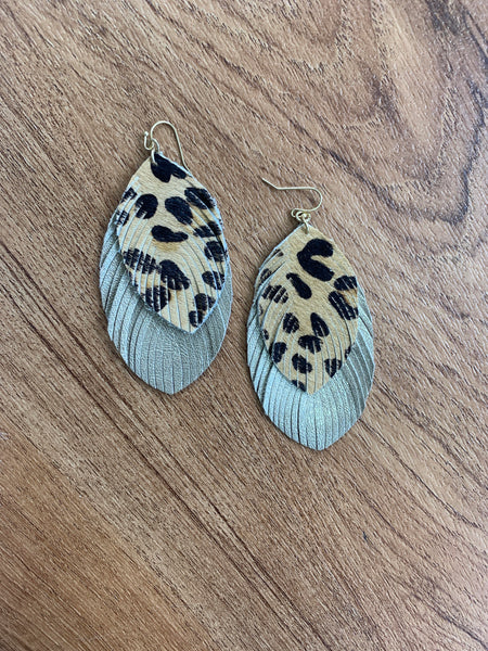 Fringed Leather Earrings - Gold and Leopard