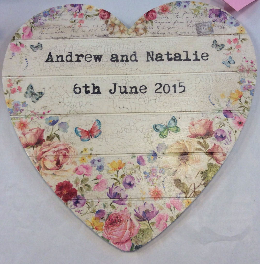 Personalised Hanging Heart £50 - Wild Flower - Doris and Jeannie