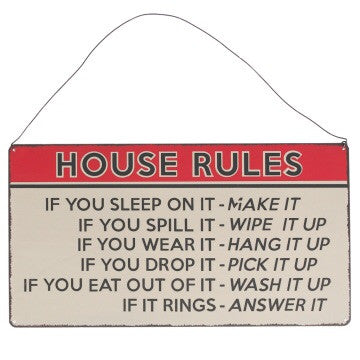House rules hanging metal sign - Doris and Jeannie