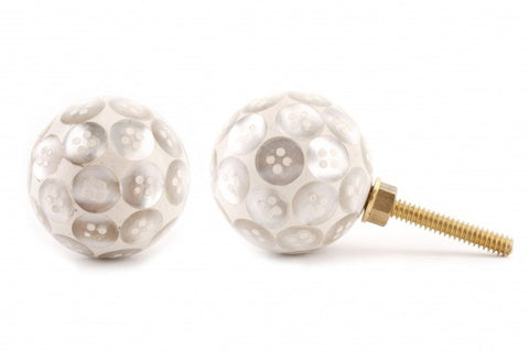White button drawer pull - Doris and Jeannie