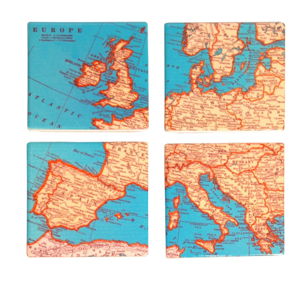 Set of 4 map coasters - Doris and Jeannie