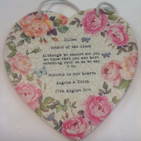 Personalised Hanging Heart £25- Remembering