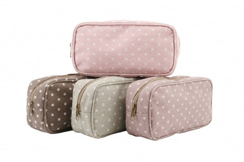 4 assorted dusty polka wash bags - Doris and Jeannie