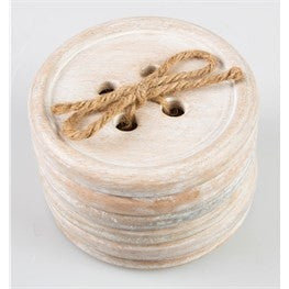Set of 6 button wood coasters - Doris and Jeannie