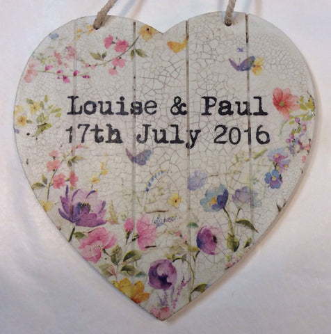 Small  Personalised Hanging Heart £25 - Doris and Jeannie