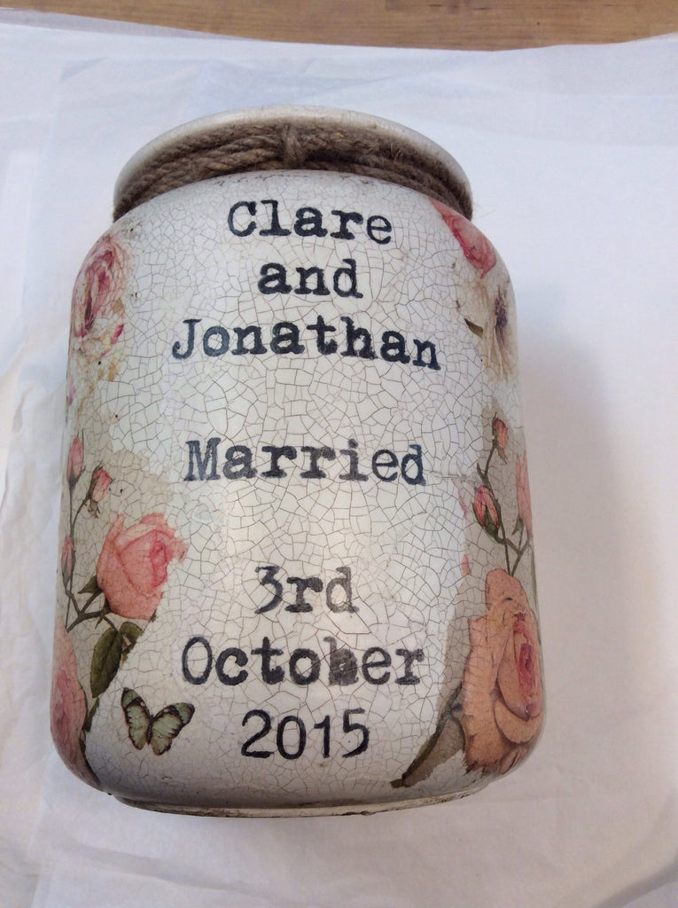 Large Personalised  Handmade Churn - Dusky Rose - Doris and Jeannie - 1