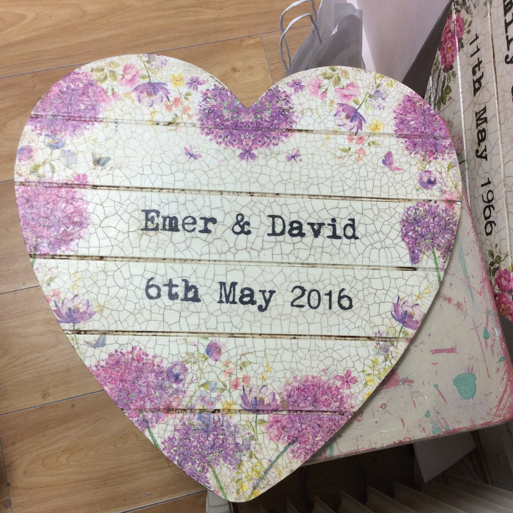 Personalised Hanging Heart £50 - Dandelion Wishes