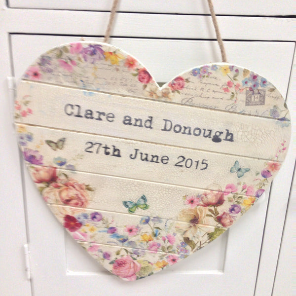 Large Personalised Hanging Heart - Doris and Jeannie - 2