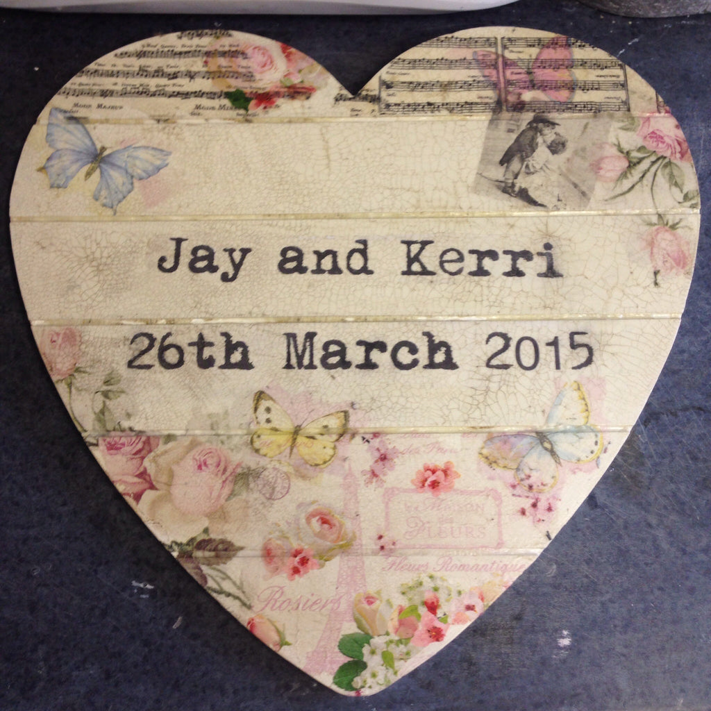 Large Personalised Hanging Heart - Doris and Jeannie - 1