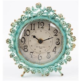 Boudoir Old Romance Round Clock Duck Egg - Doris and Jeannie