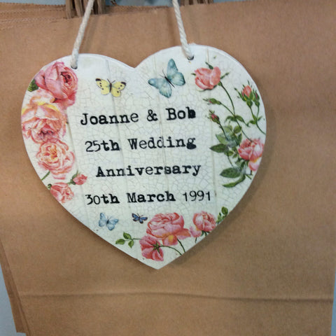 Small  Personalised Hanging Heart £25 Anniversary - Doris and Jeannie