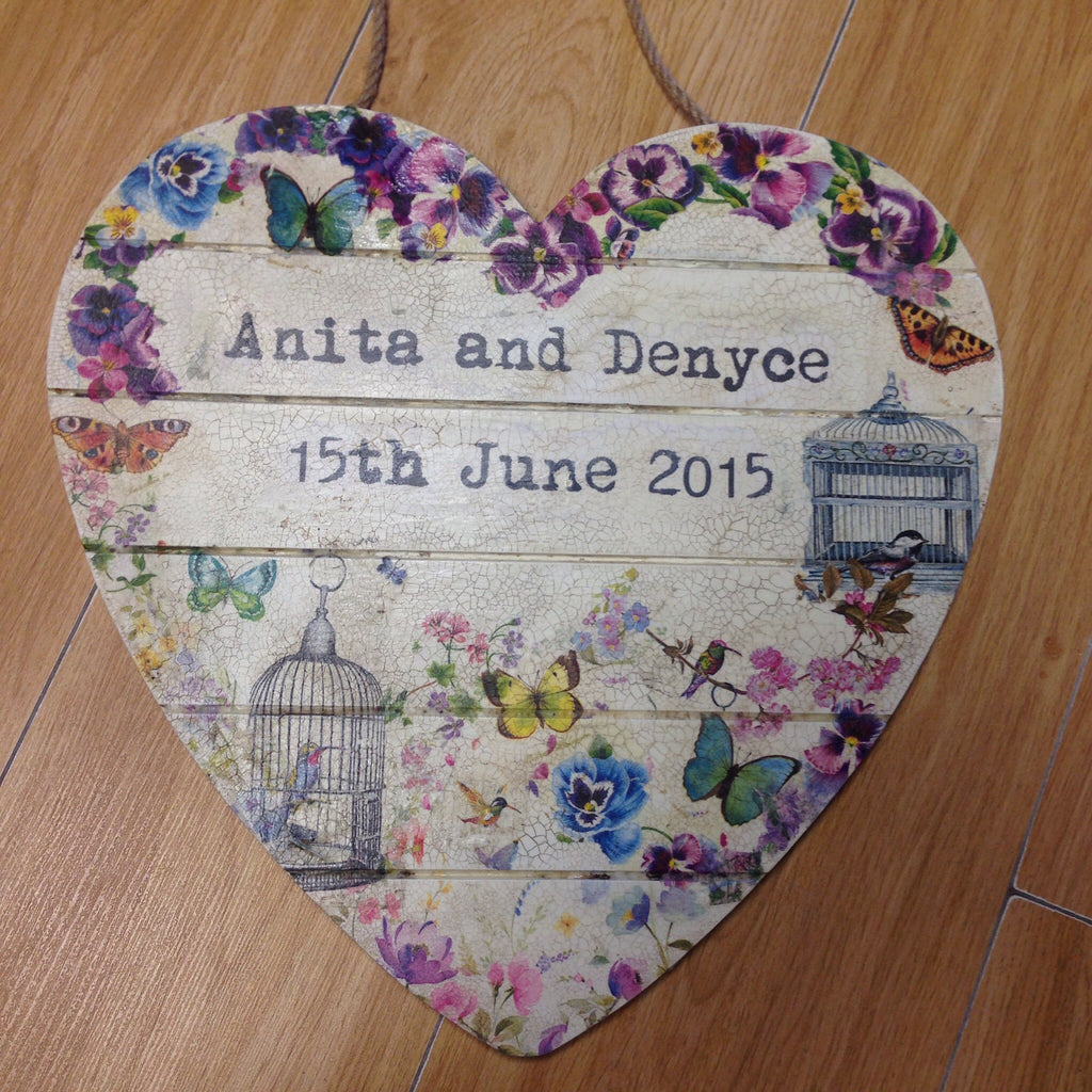 Personalised Hanging Heart £50 - Doris and Jeannie