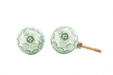 Green button drawer pull - Doris and Jeannie