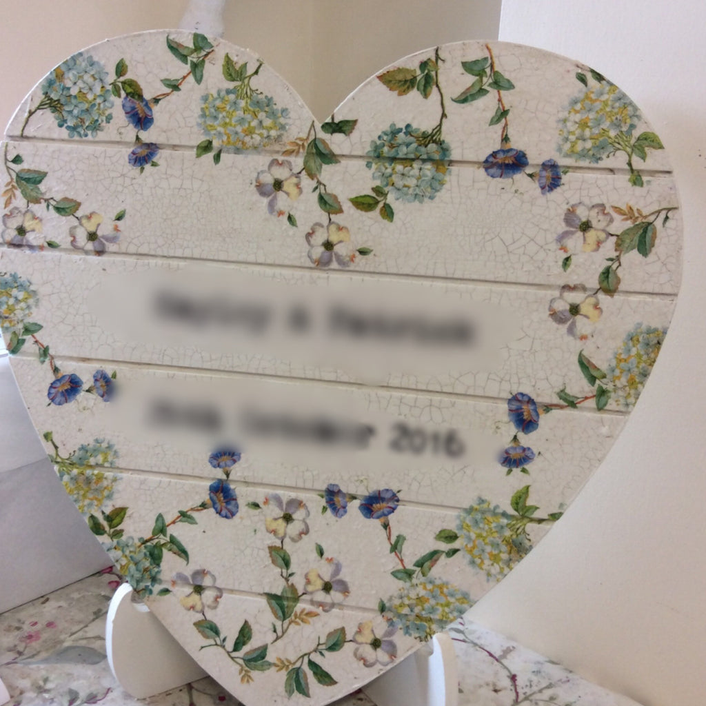 Personalised Hanging Heart £50 - Cream  Hydrangea