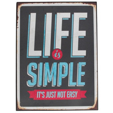 "Vintage metal sign "" life is simple"" - Doris and Jeannie"