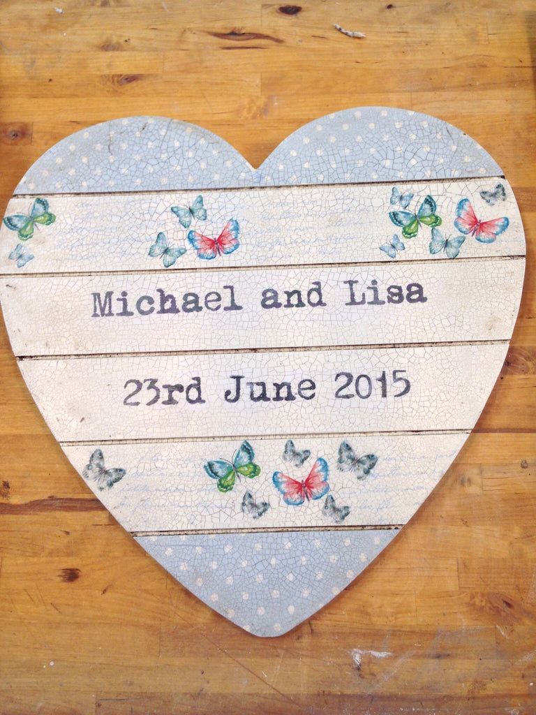 Large Personalised Hanging Heart £50 - Butterflies - Doris and Jeannie