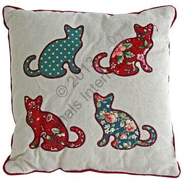 Curly tailed cats cushion - Doris and Jeannie