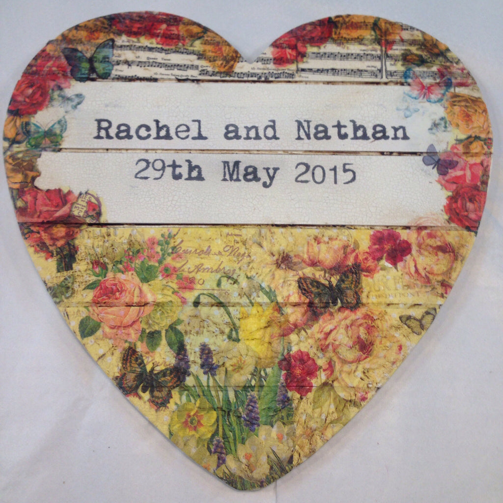 Large Personalised Hanging Heart £50 - Mellow Yellow - Doris and Jeannie
