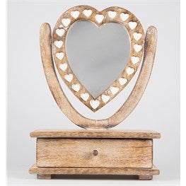 Wooden heart mirror with drawer - Doris and Jeannie