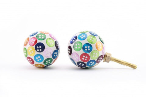 Multi coloured button drawer pull - Doris and Jeannie